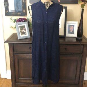 Eileen Fisher NWOT linen navy cover up